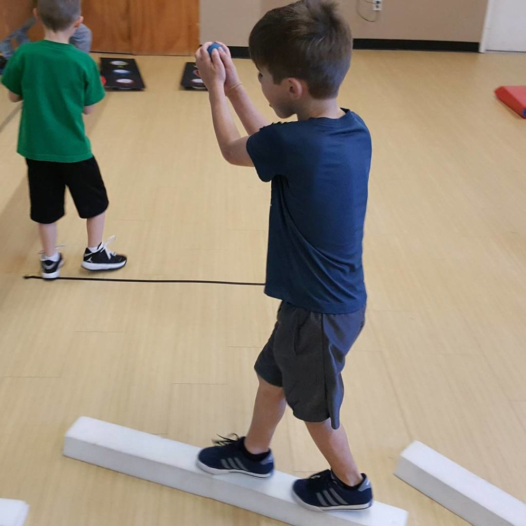 IFitness4 Kids- Balance Beam while bouncing Tennis Ball